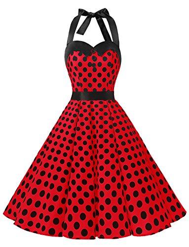 Dressystar Vintage Tupfen Retro Cocktail Abschlussball Kleider 50er 60er Rockabilly Neckholder Rot Schwarz Dot M