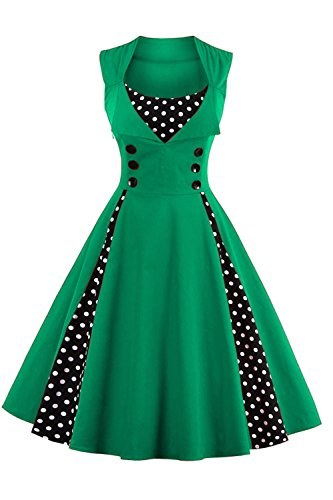 Babyonline d.r.e.s.s Damen 50 60er Ärmellos Swing Abendkleid Polka Dots Grün XL