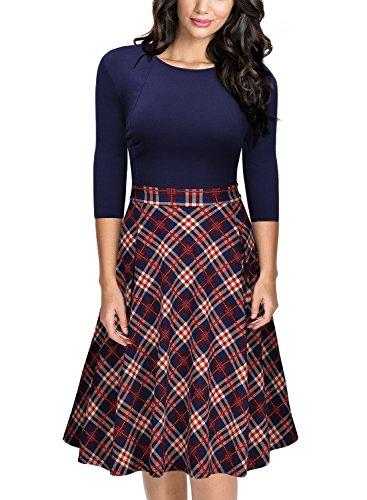 Miusol Damen 3/4 Arm Vintage 50er Kleid Knielang Abendkleid Cocktail Abendkleid Blau Gr.S