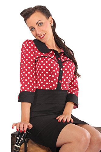 Fifties Polka Dots Rockabilly Puffärmel Bubikragen Rüschen 3/4arm Bluse XL