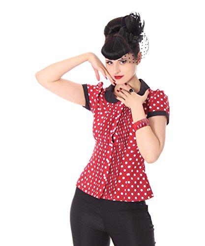 SugarShock Leonice 50er retro Bubikragen Polka Dots Rockabilly Plissee Puffärmel Bluse