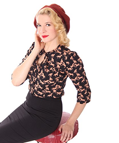 SugarShock Peppina Rockabilly 50s Pin Up retro Pferde Shirt 3/4 Arm Bluse