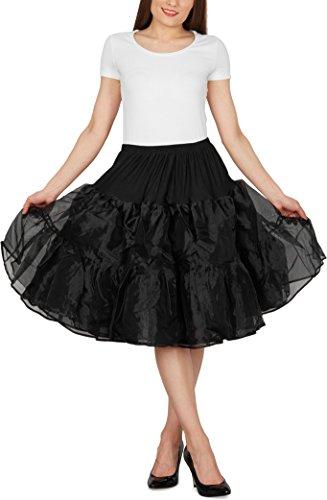 """Black Butterfly 25"""" Rockabilly Petticoat 1950er-Jahre Komplett aus Satin-Organza Tellerrock (Schwarz, EUR 36 - 42)"""