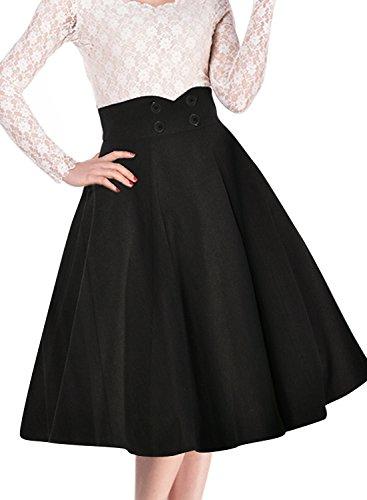 Miusol Damen Elegant Faltenrock Zweireiher Causal Business Vintage 1950er Jahr Roecke Schwarz Gr.M