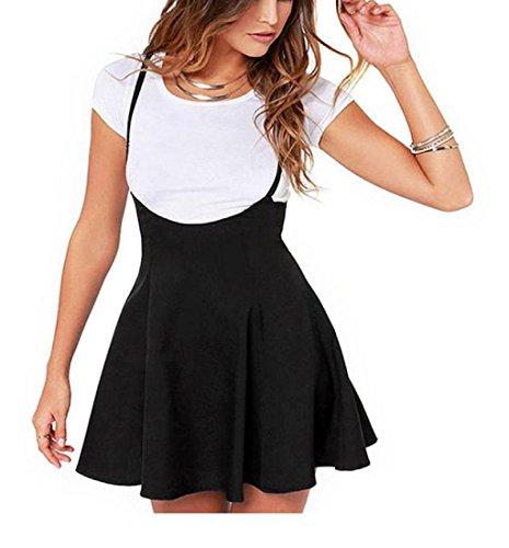 Rcool Frauen Mode schwarzen Rock mit Schulterriemen plissiert Mini Kleid Schwarz (XXL)