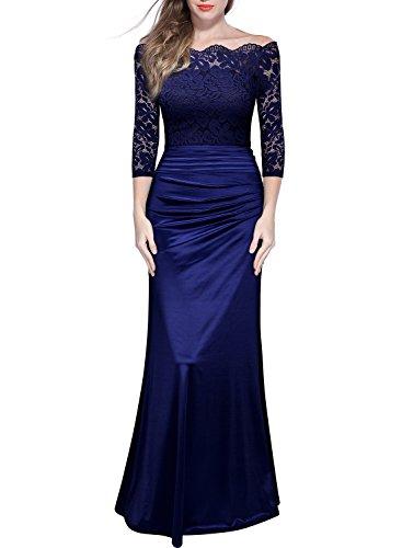 Miusol Damen Elegant Cocktailkleid Spitzen Vintage Kleid Off Schulter Brautjungfer Langes Abendkleid Dunkelblau Gr.S