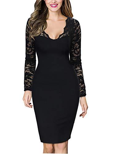 Miusol Damen elegant Abendkleid Spitzen V-Ausschnitt Cocktail Ballkleid Langarm Kleid schwarz/Weiß Gr.34-46 (EU 46 (XXL), Schwarz)