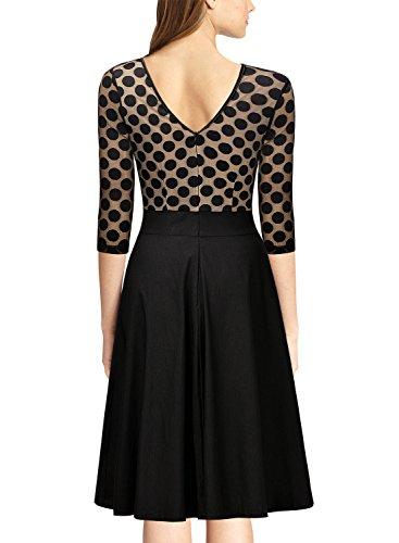 Miusol Damen Elegant Abendkleid Vintag 50er Kleider mit Polka Dots Spitzen Partykleid 3/4 Arm Knielang Rockabilly Kleid Schwarz Gr.S -