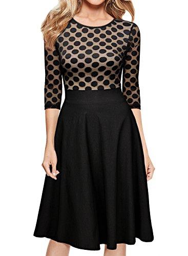 Miusol Damen Elegant Abendkleid Vintag 50er Kleider mit Polka Dots und Spitzen - 3