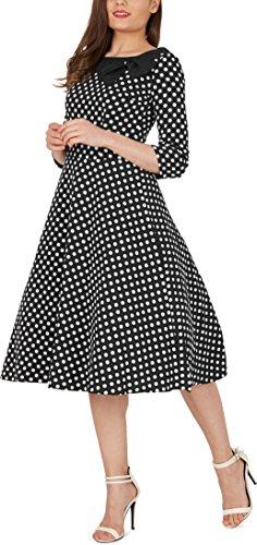 'Iris' 50's Polka-Dots Kleid mit besetztem Ausschnitt