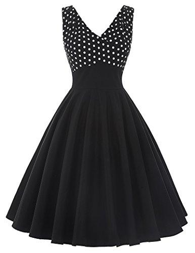 50s Kleid Partykleid A-Linie Picknick Kleid Knielang Casual Kleid M BP093-1