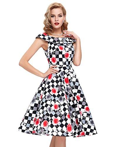 Damen Petticoat Kleider 50er Festliche Kleider Knielang XL BP044-2