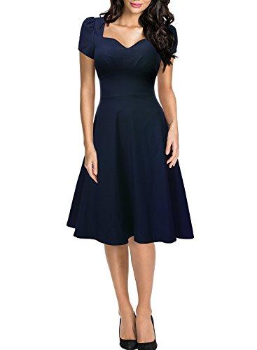 Missmay Damen Knielang V-Ausschnitt Business Abenkleid Festlich Partykleid Blau Gr.36-46 (42 (L)., Blau)