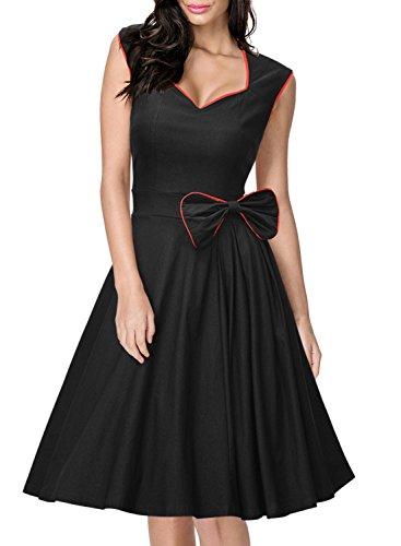 Missmay Damen Vintage Rockabilly 50 Jahr Partykleid Festliches Kleid Cocktail Ballkleid schwarz Gr.36-46