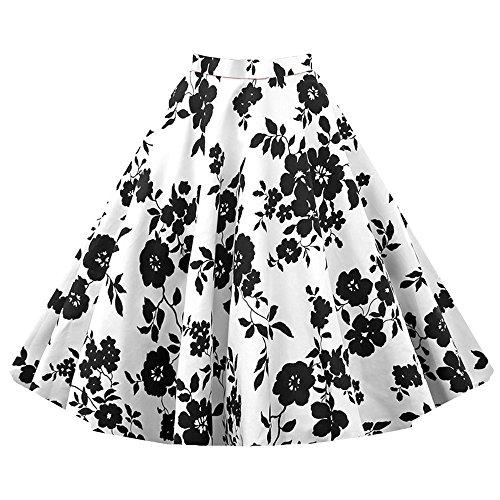 VKStar® A-Linie Vintage 1950s Sommer Damen Kurz Blumen Stoffdruck Kleid Audrey Hepburn Style Rockabilly Swing Abendkleid Cocktail Partykleid Weiß und SchwarzXL