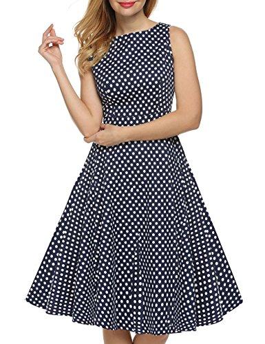 VKStar®Vintage 1950s A-Linie Klassisch Frauen Retro Drucken Blumen Audrey Hepburn Dress Abendkleid Cocktailkleid DunkelblauM