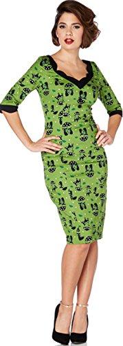 Voodoo Vixen KITTY Umbrella Cat Vintage Pin Up WIGGLE Dress Kleid Rockabilly