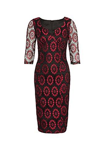 Voodoo Vixen Vintage FLORAL Lace Pin Up PENCIL Dress KLEID Rockabilly -