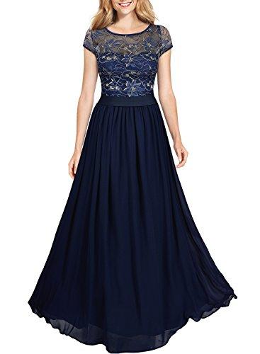 Miusol Damen Kleid Lace Blume Spitze Stickerei Rundhals Chiffonkleid Maxi Langes Abendkleid Dunkelblau Gr.XL