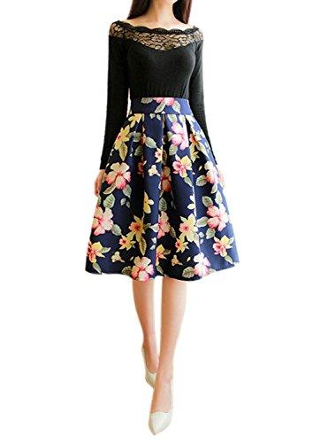 Minetom Damen Vintage Sommer Knielang Rock Blumenmuster A Line Blumen Rock Elegant Sexy Kleid