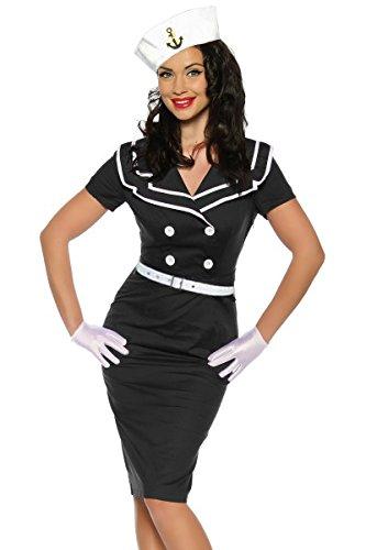 50er Jahre Rockabilly Matrosen Pencilkleid Pin-Up Kleid mit Gürtel
