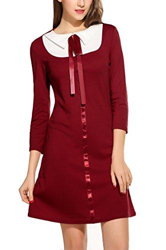 Zeagoo Damen 3/4 Ärmel Rundhals 60s Vintage Kleid Rockabilly Festliche Kleider Freizeitkleid Weinrot