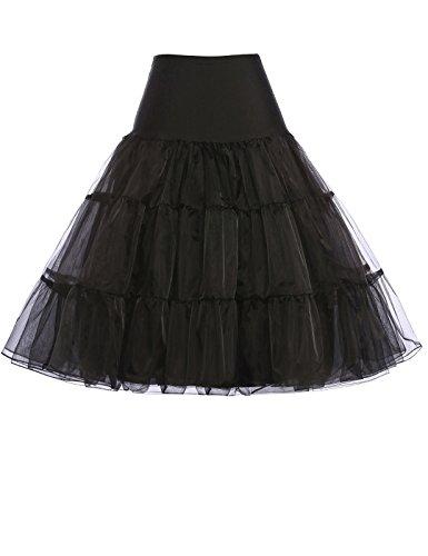 Petticoat Rock Schwarz 1950er Vintage, Bräute oder Brautjungfer Rock
