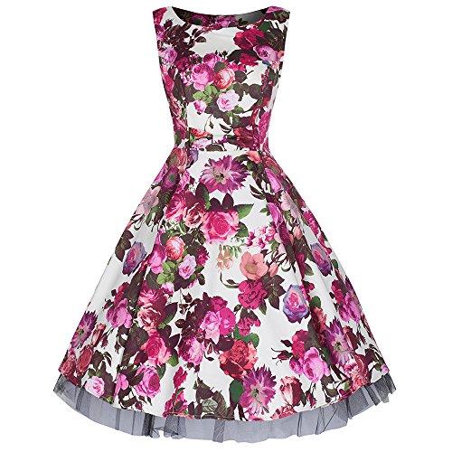 Creme-Rose 50er Jahre Kleid Bogenvorder Blumendruck Baumwolle