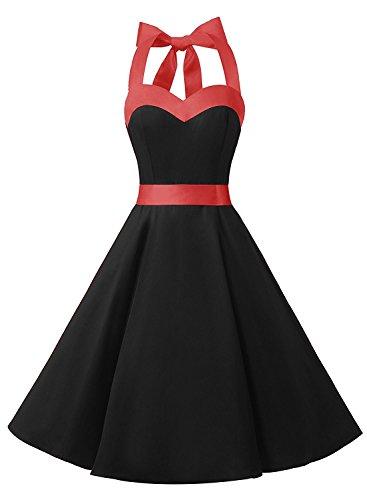 Neckholder Kleid Schwarz im Rockabilly 50er Jahre Vintage Stil