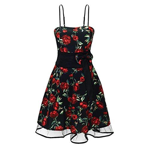 Damen Kleid Rockabilly Stil & Blumenmuster in Schwarz und Rot