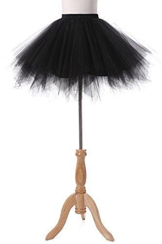 Poplarboy Damen Kurz 50er Vintage Petticoat Reifrock Mehrfarbengroß Unterröcke Braut Crinoline Ballett Blase Tutu Ball Kleid Underskirt Schwarz - 2