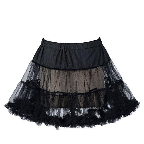 """Boolavard 18"""" 50s Retro Underskirt Swing-Klassiker Mini Petticoat Fancy Net Tulle Unterrock Rocke Rockabilly Tutu (L-XXL (EU 42-50), Schwarz)"""