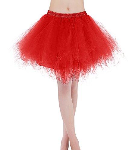 Find Dress Tüllrock Petticoat Unterrock tutu Reifrock kleid 50er Hochzeit Vintage Prinzessin schwarz und weiß für Rockabilly kleider Faltenrock 50s Rockabilly ballkleider FD10001Rot L-XL