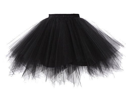 Broybuy Damen Kurz Retro Petticoat Rock Ballett Blase 50er Tutu Ball Kleid Mehrfarbengroß Unterröcke Schwarz