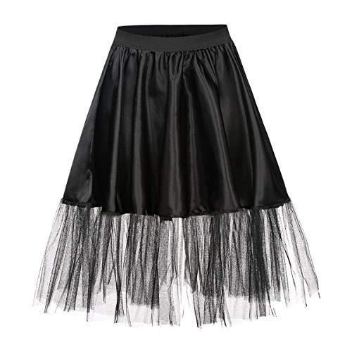 Kostümplanet® Petticoat schwarz mit Gummiband und Tüll Tutu Petti Coat Unterrock schwarzer Petticoat