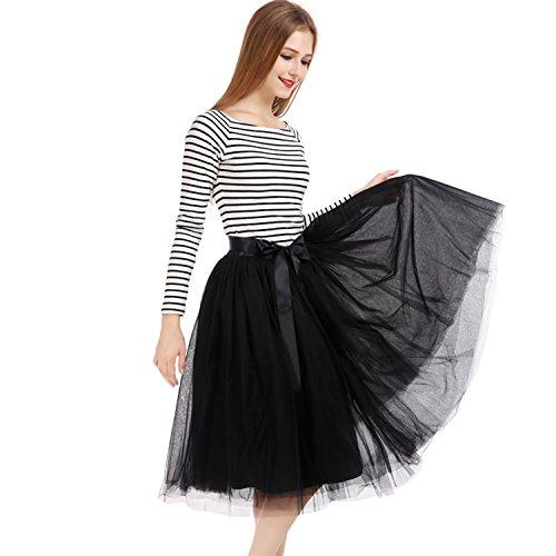 Petticoat 50er Jahre von COLLEER, Retro-Faltenrock perfekt zu Strick und Heels oder Sneakers, Unterrock für Hochzeit und Party, schwarz, Einheitsgröße