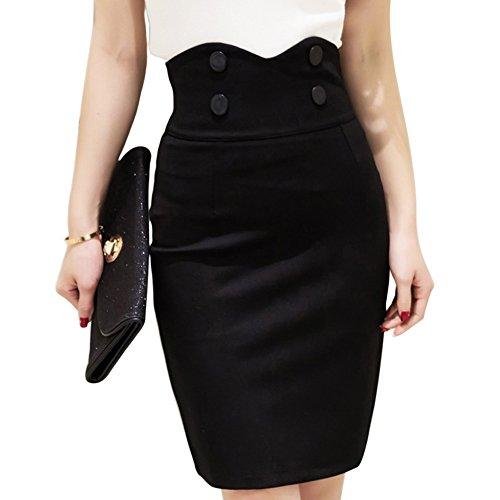 MIOIM® Damen Rock High Waist Lang Skirt Knöpfen A-linien Elastisch Geschnitten Schlauch Röcke Retro Cocktail Party Kleider