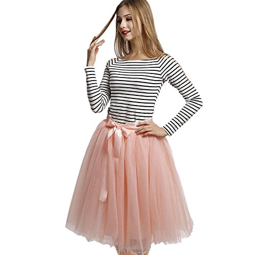 Upgrow Rock Tutu Tuturock Tütü Petticoat Tüllrock 7 Schichten Gummizug für Karneval, Party und Hochzeit (Pink)