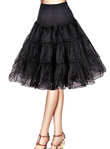 "Flora 50s Vintage Rockabilly Petticoat Skirt, 25"" Length Net Underskirt (EU 42-50 (L-XXL), schwarz)"