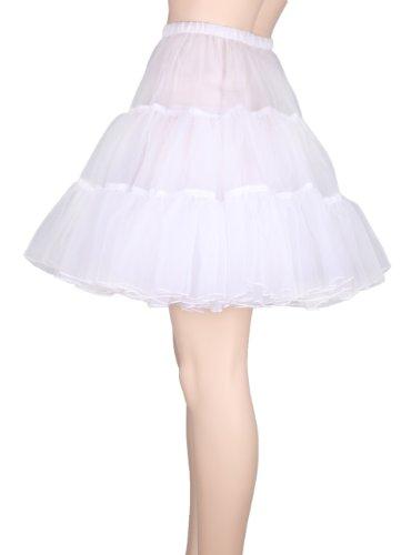 """Flora 50s Rock n Roll Hoopless Short Skirt/Fancy Tutu Petticoat,18"""" Length (EU 32-40 (XS-M), weir)"""