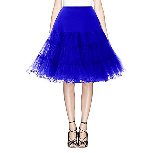Find Dress Vintage Damen 50er Jahre Rockabilly Petticoat Wedding bridal Knielang unterrock FD10041Royal Blue L-XL