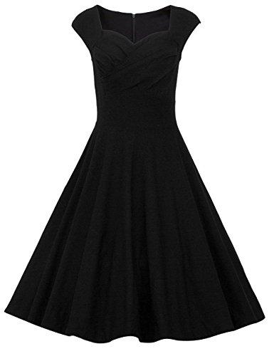Dresstells 50er Retro Audrey Hepburn Schwingen Pinup Polka Dots Rockabilly Kleid Black 2XL