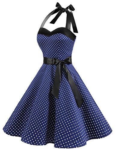 Dresstells Neckholder Rockabilly 50er Polka Dots Punkte 1950er Kleid Petticoat Faltenrock Navy White Dot S - 3