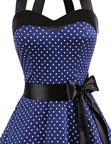 Dresstells Neckholder Rockabilly 50er Polka Dots Punkte 1950er Kleid Petticoat Faltenrock Navy White Dot S - 5