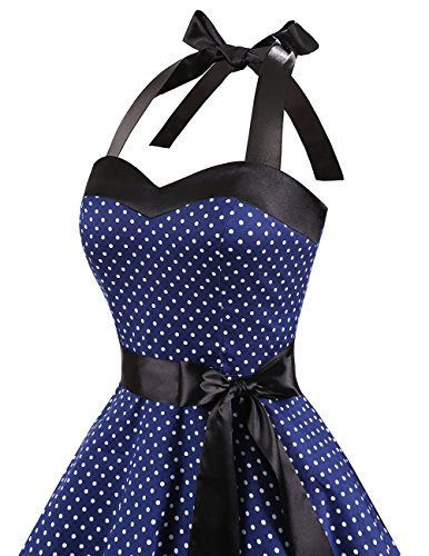Dresstells Neckholder Rockabilly 50er Polka Dots Punkte 1950er Kleid Petticoat Faltenrock Navy White Dot S - 6