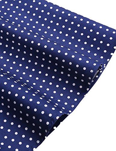 Dresstells Neckholder Rockabilly 50er Polka Dots Punkte 1950er Kleid Petticoat Faltenrock Navy White Dot S - 7