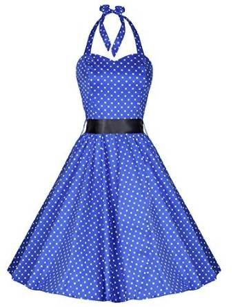 Pretty Kitty Fashion 50s Polka Dot Blau Weiss Neckholder Cocktail Kleid M (12)
