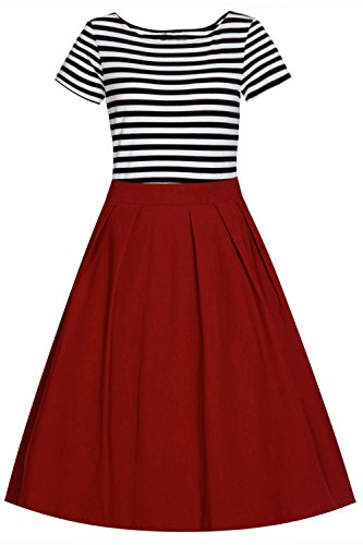Babyonline- Damen Vintage 50er Rockabilly Swing Audrey Hepburn Kleid Knielang Weinrot XL