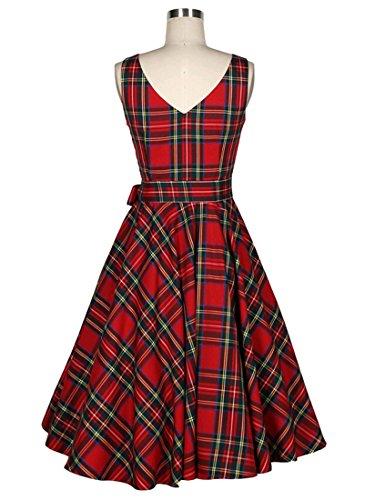 VKStar® Vintage Damen 1950s Audrey Hepburn britische Art Schwing Retro Rockabilly Plaid Abend-Partykleid Schleife - 2