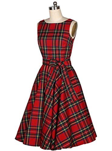 VKStar® Vintage Damen 1950s Audrey Hepburn britische Art Schwing Retro Rockabilly Plaid Abend-Partykleid Schleife - 3